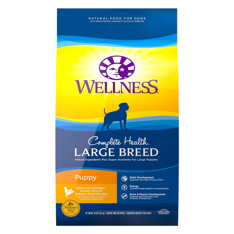 Wellness Complete Health Large Breed Puppy Dedoned Chicken, Brown Rice & Salmon Meal Recipe 30 lbs. 69244