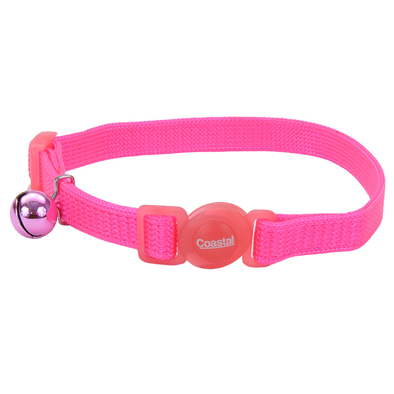 "Coastal Safe Cat Adjustable Snag-Proof Breakaway Collar 3/8"" x 8-12"" Neon Pink  70733"