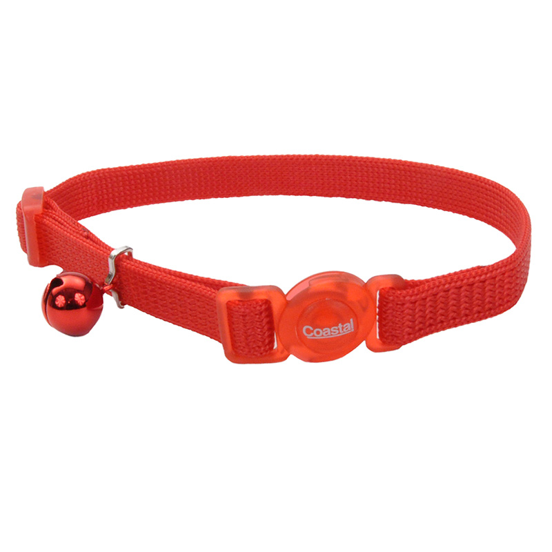 "Coastal Safe Cat Adjustable Snag-Proof Breakaway Collar 3/8"" x 8""-12"" Red  70734"