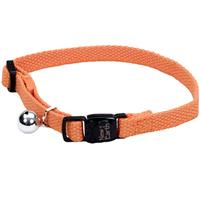 "New Earth Soy Adjustable Cat Collar With Bell Pumpkin 3/8"" x 8-12""  716215"
