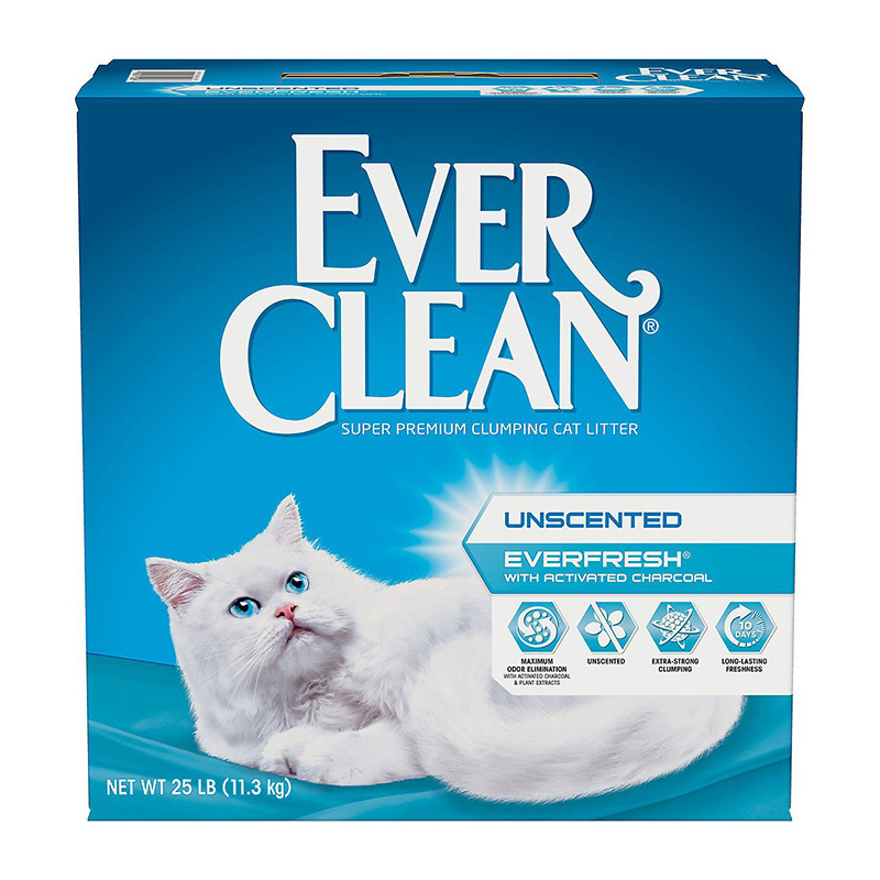 Everfresh with Activated Charcoal Unscented Super Premium Clumping Cat Litter 25 lbs 7172