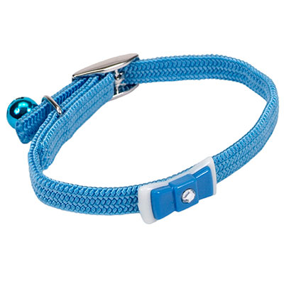 Coastal Li'l Pals Elasticized Safety Kitten Collar with Jeweled Bow Light Blue 72932