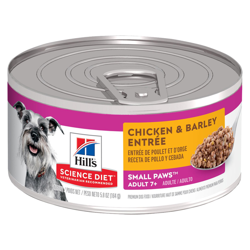 Hill's Science Diet Adult 7+ Small Paws Chicken & Barley Entrée Dog Food 5.8 oz  92314