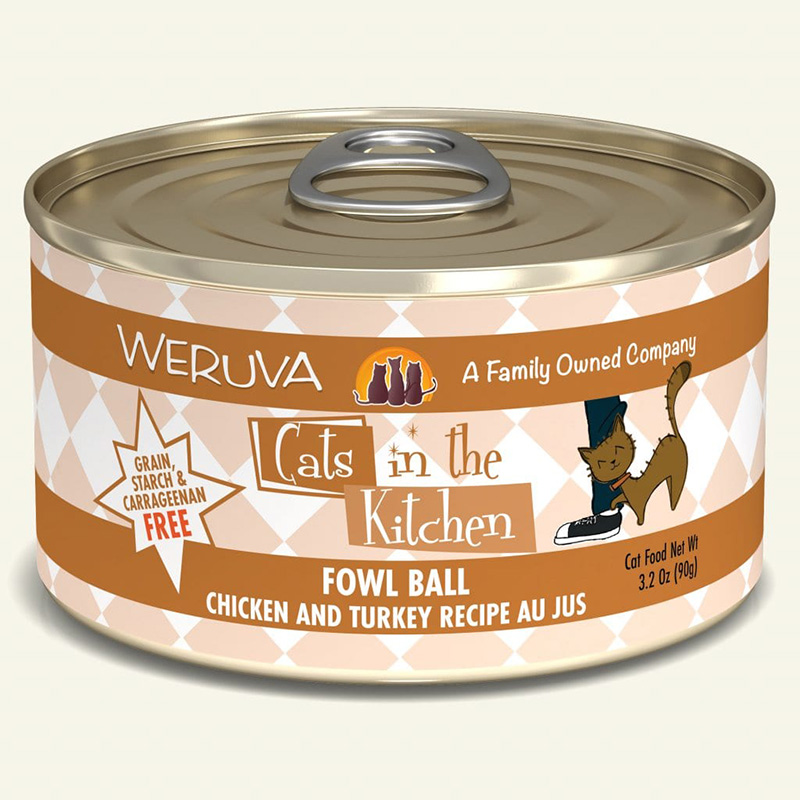WERUVA Cats in the Kitchen Fowl Ball - Chicken and Turkey Recipe in Au Jus Canned Cat Food 3.2 oz I003044