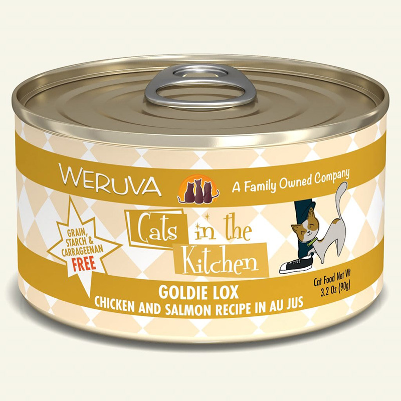 WERUVA Cats in the Kitchen Goldie Lox  - Chicken and Salmon Recipe Au Jus Canned Cat Food 3.2 oz I003046