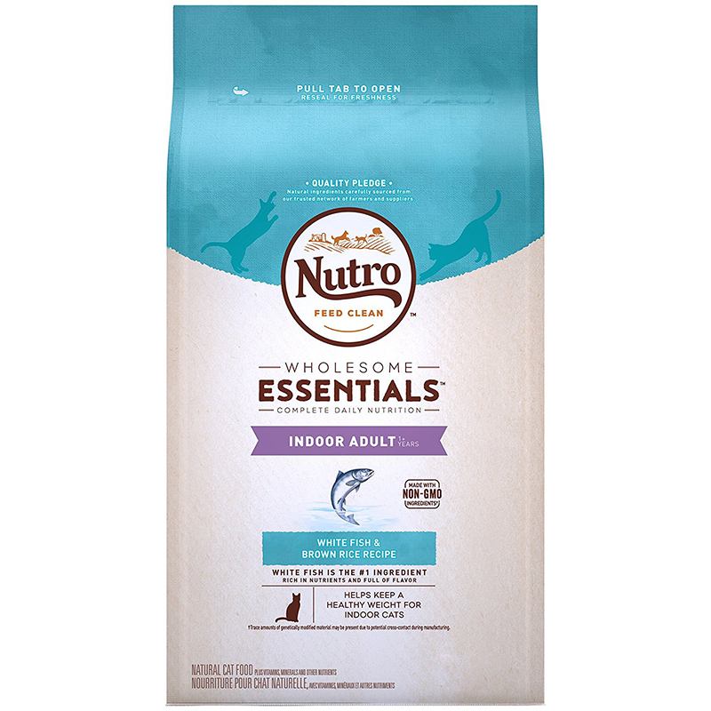 Nutro Wholesome Essentials Indoor Adult Cat Food White Fish & Whole Brown Rice Recipe 6.5 lbs. I003595
