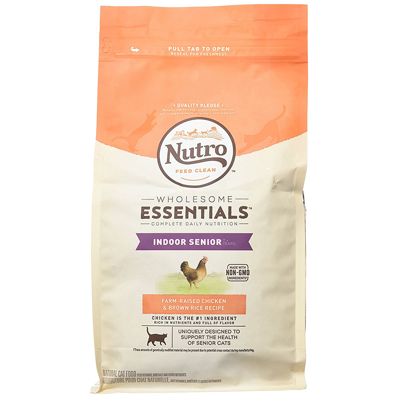 Nutro Wholesome Essentials Indoor Senior Cat Food Chicken & Brown Rice Recipe 3 lbs.  I003596