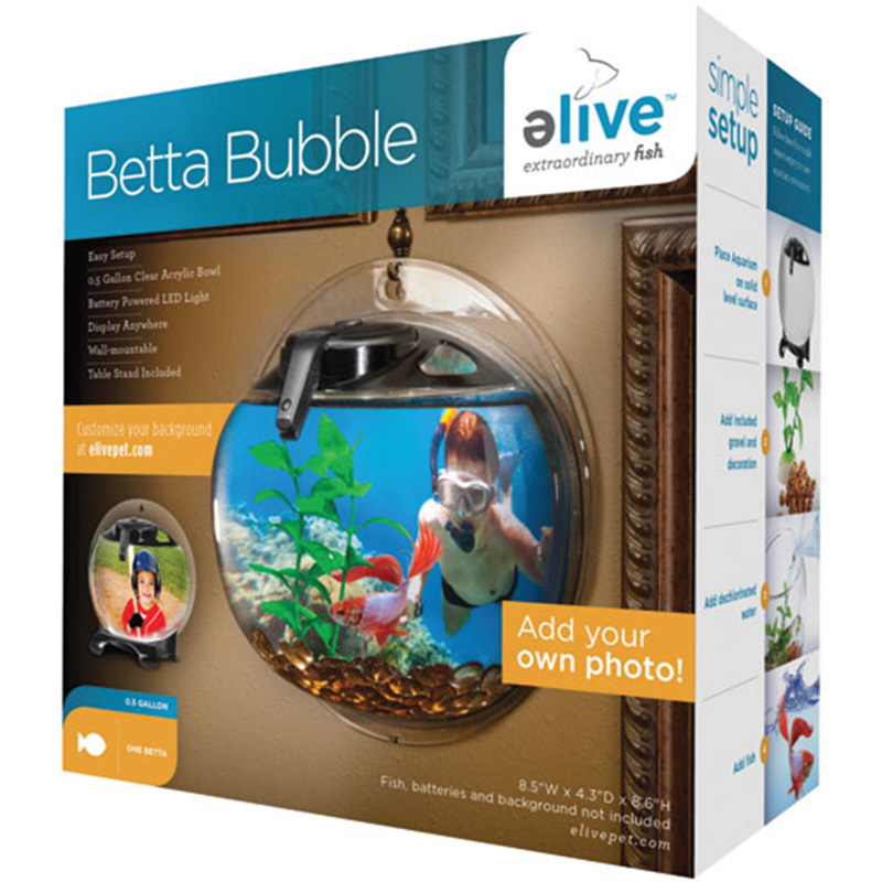 elive Betta Bubble Black Aquarium .5 gal I004374