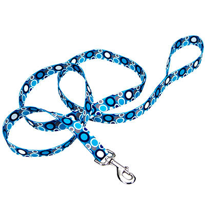 "Coastal® Pet Attire® White and Blue Bubbles Leash 6' x 1"" I006397"