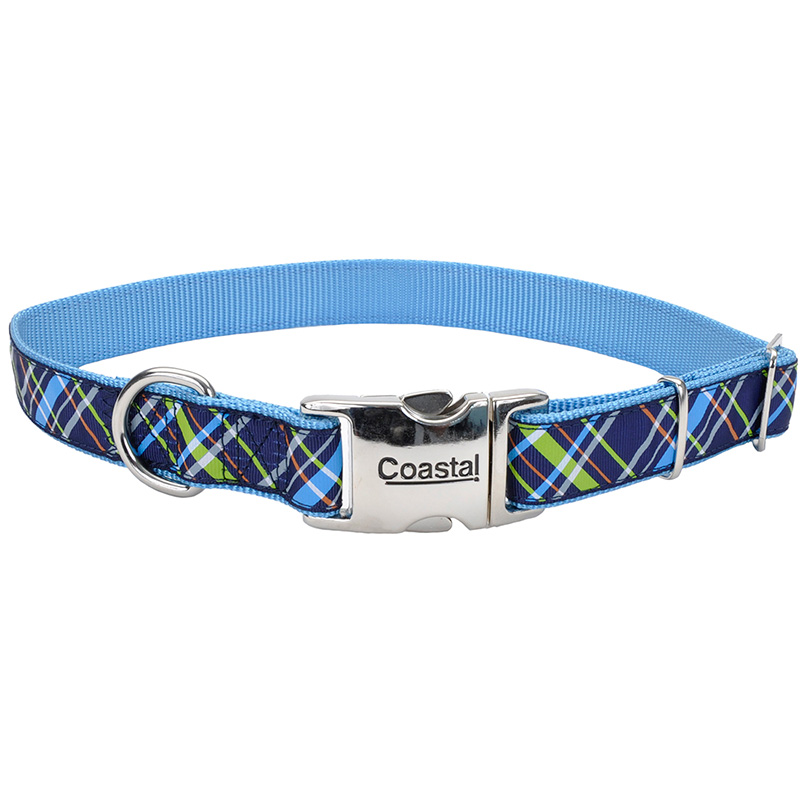Coastal Ribbon Adjustable Dog Collar with Metal Buckle Navy Blue Plaid  I006449b