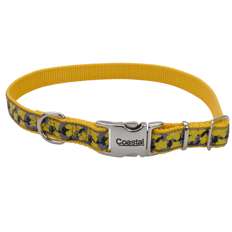 Coastal Ribbon Adjustable Dog Collar with Metal Buckle Yellow Buttercup  I006452b
