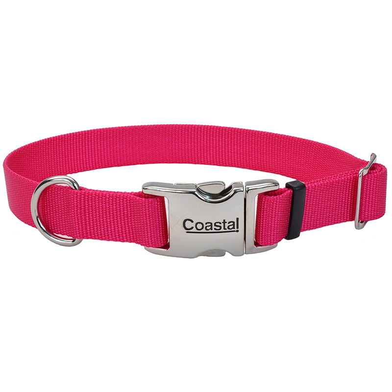 Coastal Adjustable Dog Collar with Metal Buckle Pink Flamingo I006493b