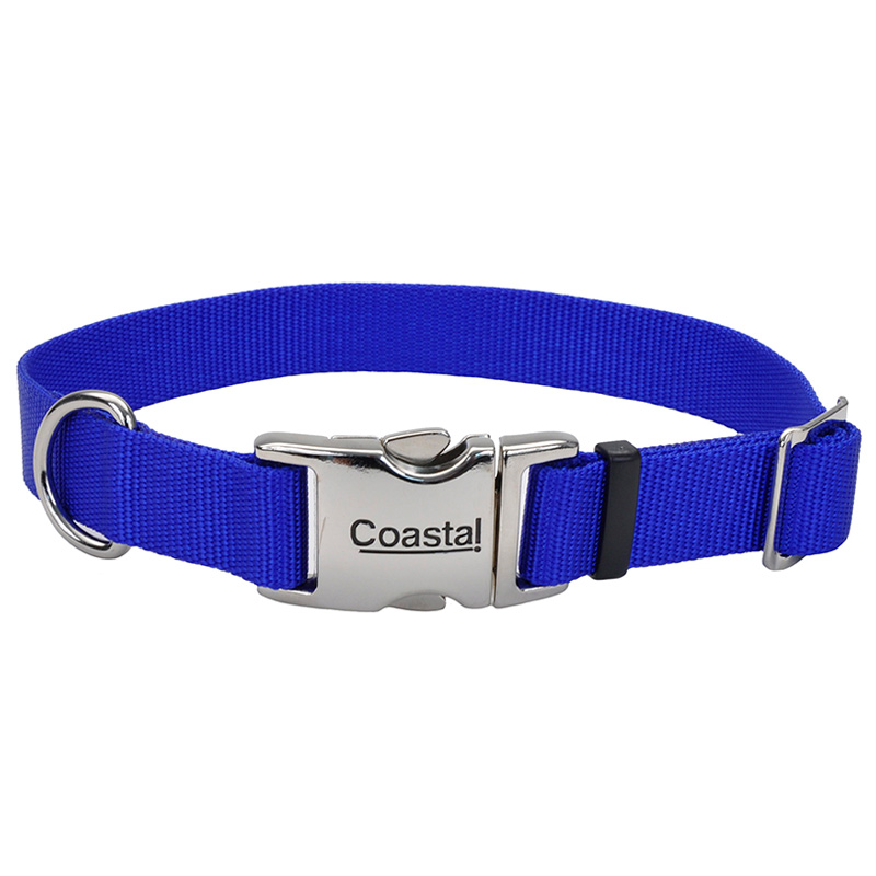 "Coastal Adjustable Dog Collar with Metal Buckle Blue 1"" x 14""-20"" I006488"