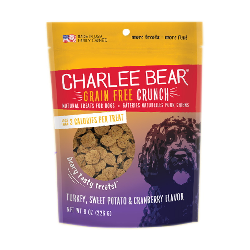 Charlee Bear® Bear Crunch All Natural Grain Free Treat Turkey, Sweet Potato & Cranberry 8 oz. I007237