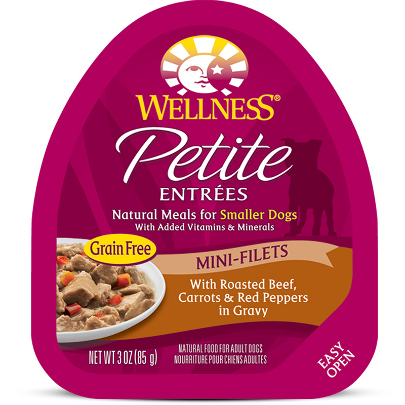Petite Entrees Mini-Filets Roasted Beef, Carrots & Red Peppers in Gravy Dog Food 3oz Tub I007359