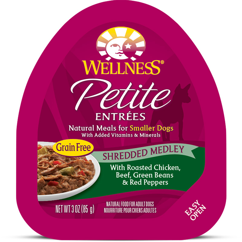 Petite Entrees Mini-Filets Roasted Chicken, Beef, Carrots & Green Beans in Gravy Dog Food 3oz Tub I007360