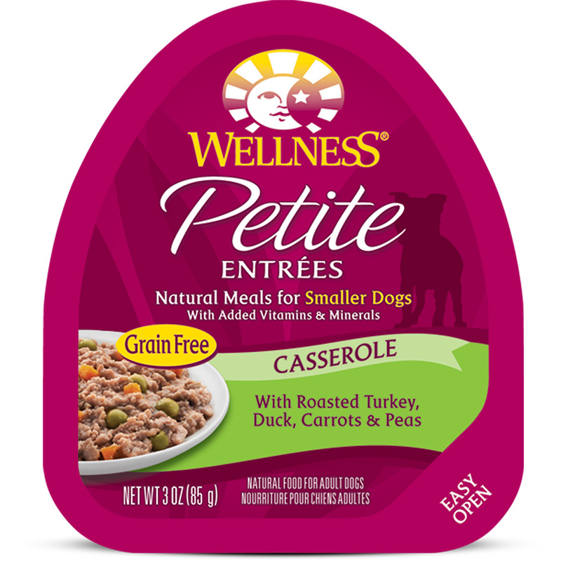 Petite Entrees Casserole Roasted Turkey, Duck, Carrots & Peas Dog Food 3oz Tub I007362