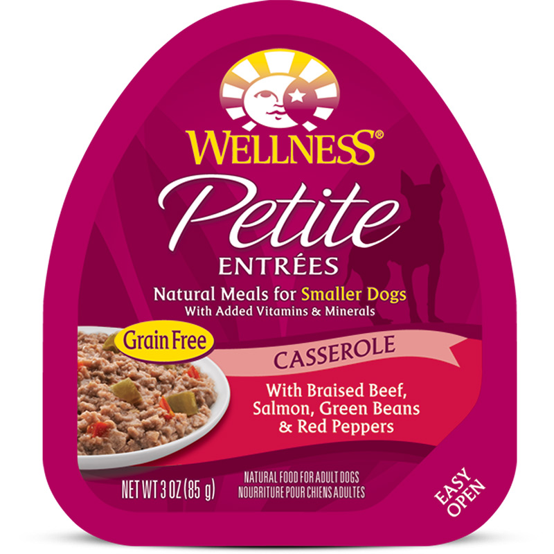 Wellness Petite Entrees Casserole Braised Beef, Salmon, Green Beans & Red Peppers Dog Food 3oz Tub I007363