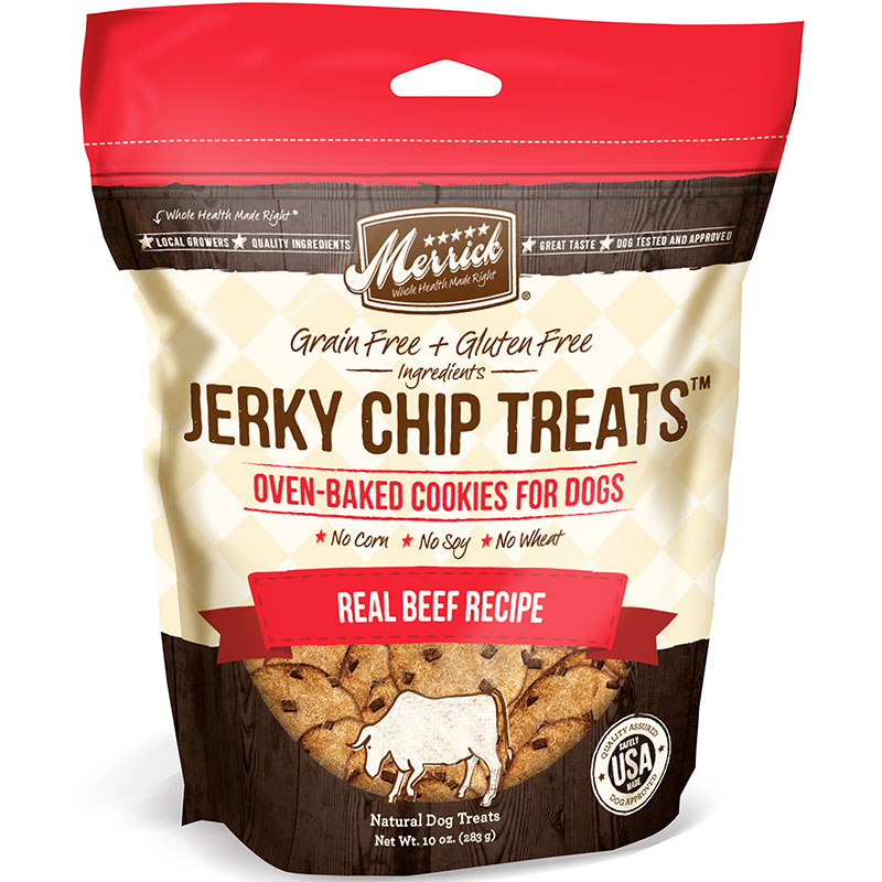 Merrick Jerky Chips Beef Dog Treats 10oz I007620