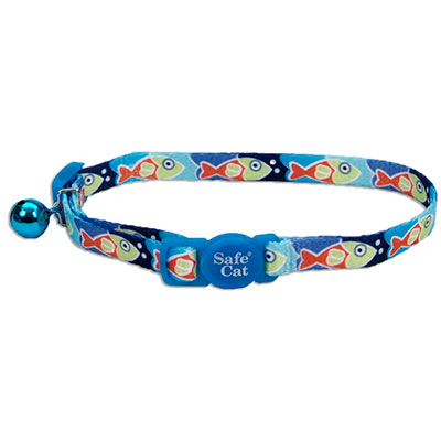 Coastal® Safe Cat Fashion Adjustable Breakaway Collar Blue Fish I008834