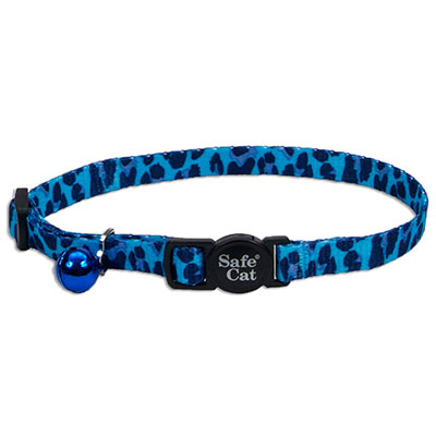 Coastal® Safe Cat Fashion Adjustable Breakaway Collar Blue Leopard I008835