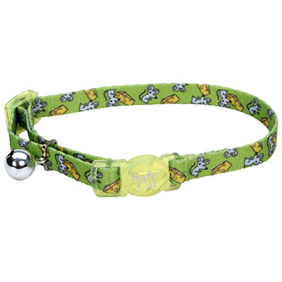 Coastal® Safe Cat Fashion Adjustable Breakaway Collar Lime Mice I008836