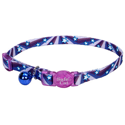 Coastal® Safe Cat Fashion Adjustable Breakaway Collar Purple Stars I008837
