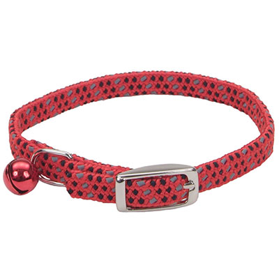 "Coastal Li'l Pals Elasticized Safety Kitten Collar with Reflective Thread Red 5/16"" I008873"
