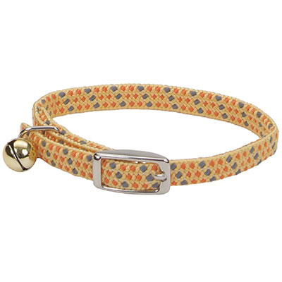 "Coastal Li'l Pals Elasticized Safety Kitten Collar with Reflective Thread Yellow 5/16""  I008874"