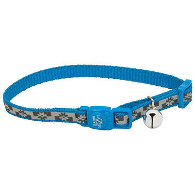 Coastal® Lazer Brite® Reflective Adjustable Breakaway Cat Collar Blue Lagoon Flowers  I008885
