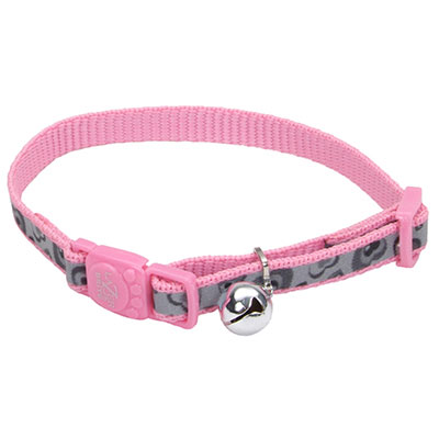 Coastal® Lazer Brite® Reflective Adjustable Breakaway Cat Collar Pink Hearts I008886
