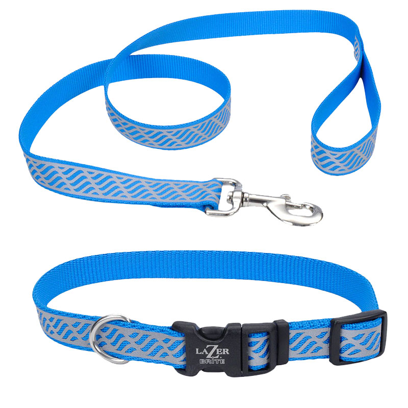 Coastal® Lazer Brite® Blue Lagoon Waves Reflective Dog Collar  I010788b
