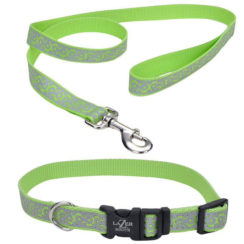 Coastal® Lazer Brite® Lime Geometric Reflective Collar  I010789b