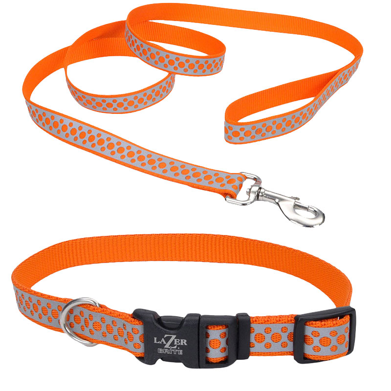 Coastal® Lazer Brite® Orange Abstract Rings Relfective Collar I010790b