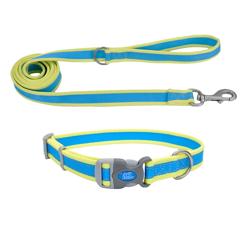 Coastal® Pet Attire® Pro Adjustable Reflective Aqua with Neon Yellow Dog Collar & Leash  I010813b