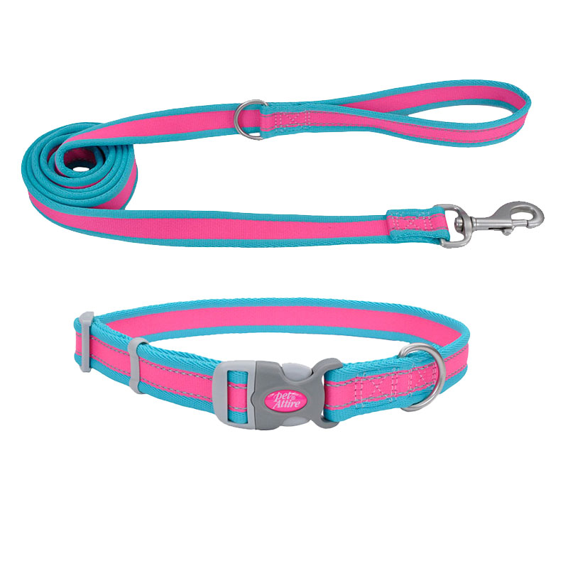 Coastal® Pet Attire® Pro Adjustable Reflective Fuchsia with Teal Dog Collar & Leash I010814b