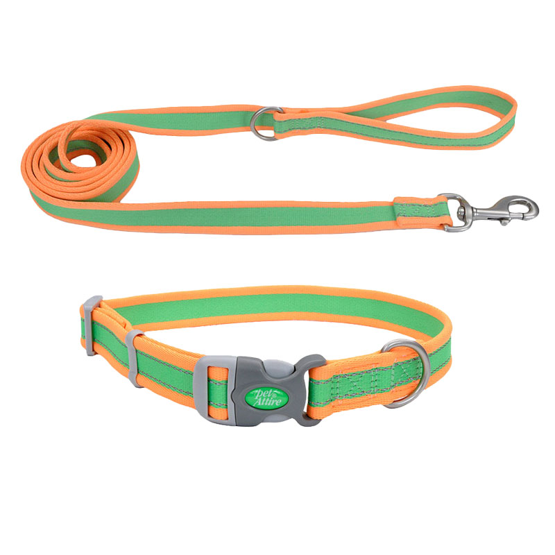 Coastal® Pet Attire® Pro Adjustable Reflective Lime with Orange Dog Collar & Leash I010815b