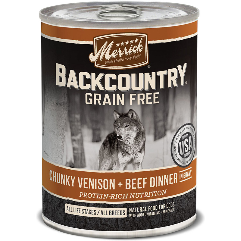 Merrick Backcountry Grain Free Chunky Venison & Beef Dinner In Gravy 12.7oz I011240