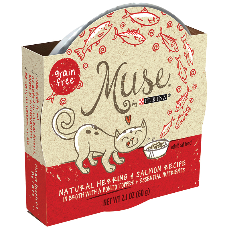 Purina® Muse® Natural Herring & Salmon Recipe In Broth with a Bonito Topper Cat Food 2.1 oz.  I011494