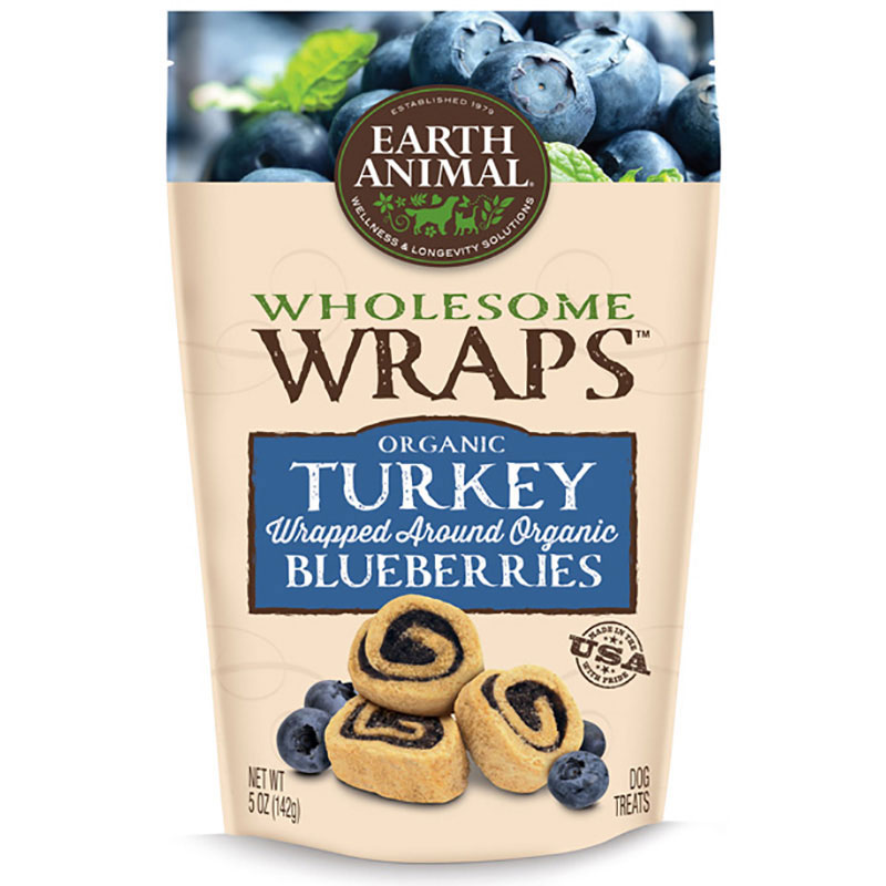 Earth Animal® Wholesome Wraps™ Organic Turkey Wrapped Around Organic Blueberries I011847