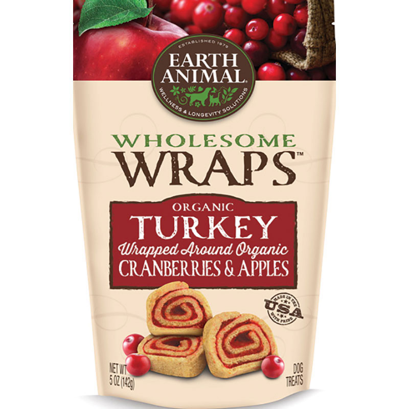 Earth Animal® Wholesome Wraps™ Organic Turkey Wrapped Around Organic Cranberries & Apples I011848