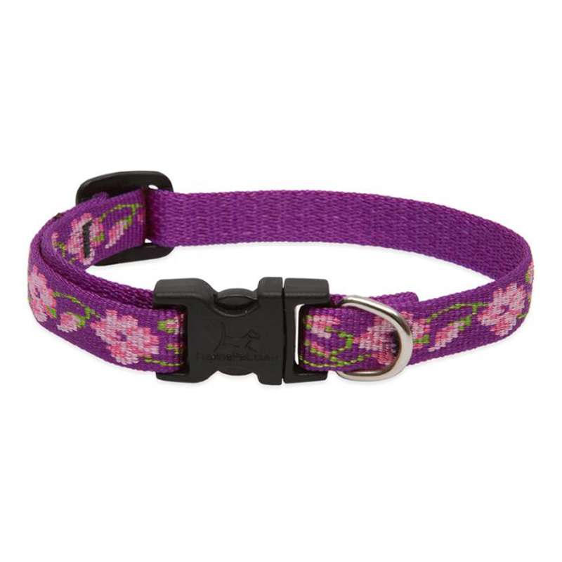 "Lupine Rose Garden Cat Collar W/Bell 1/2""Adjustable 8""-12"" I012126"