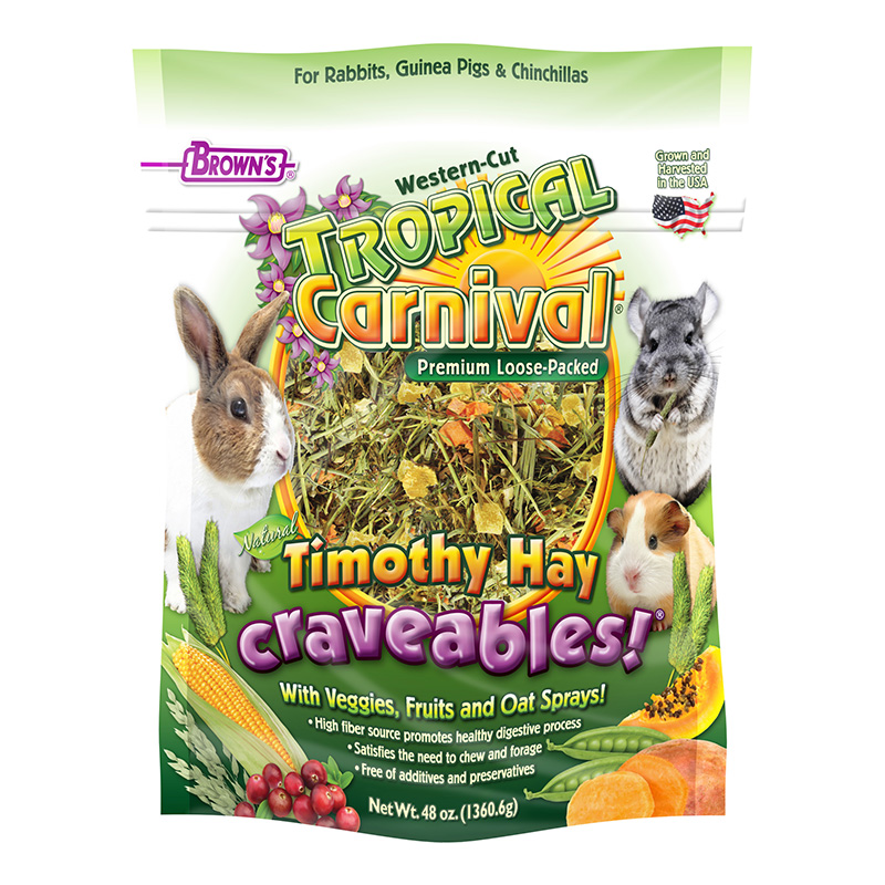 FM Brown's Tropical Carnival Natural Timothy Hay Craveables! 48 oz. Bag