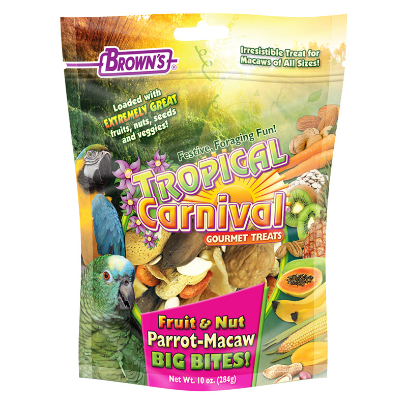 FM Brown's Tropical Carnival® Fruit & Nut Parrot-Macaw Big Bites! 10 oz. Bag I012615