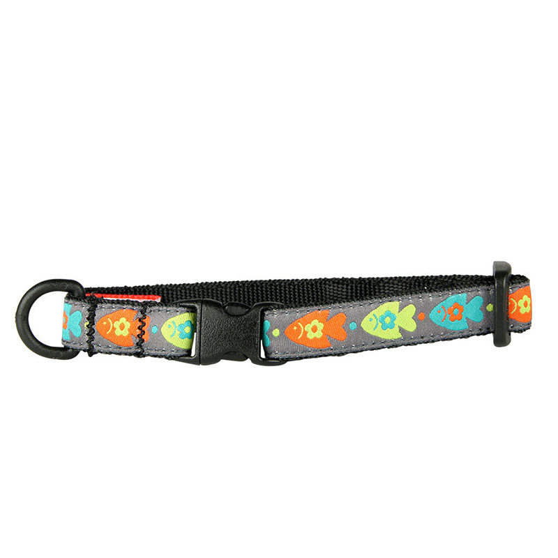 "Breakaway Cat Collar Fish Kitty Collar 1/2""x8-10"" I012725"