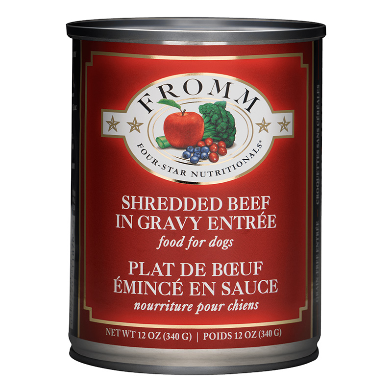 Fromm 4 Star Dinner Shredded Beef in Gravy Wet Dog Food 12oz.