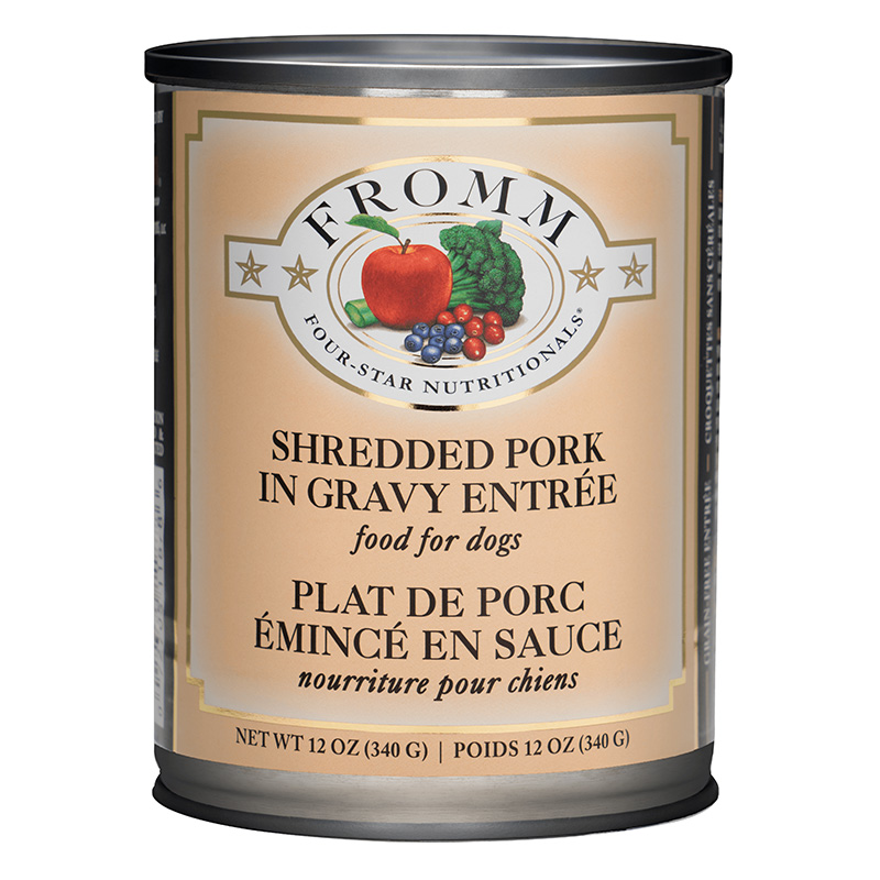 Fromm 4 Star Dinner Shredded Pork in Gravy Wet Dog Food 12oz.