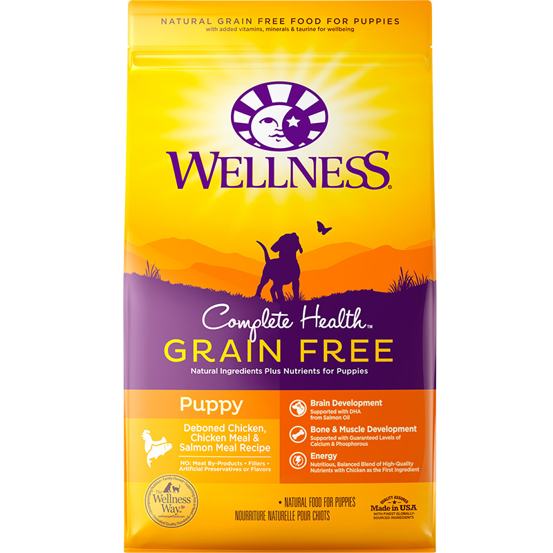 Wellness Complete Health Grain Free Chicken, Chicken Meal & Salmon Puppy Food 4lb Bag I013191