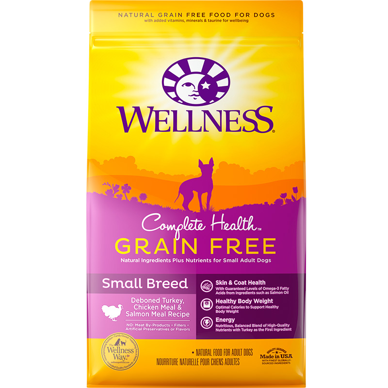 Wellness Complete Health Grain Free Turkey, Chicken Meal, & Salmon Meal Small Breed Dog Food 4lb Bag I013192