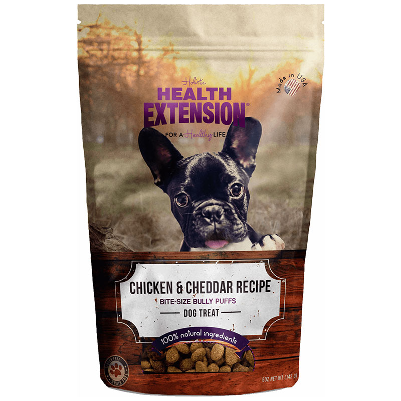 Holistic Health Extension Bully Puff Chicken and Cheddar Dog Treats 5oz I013441